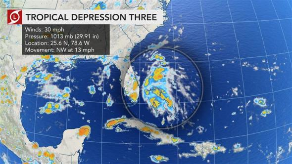 DEVELOPING: New tropical depression forms off the coast of Florida…