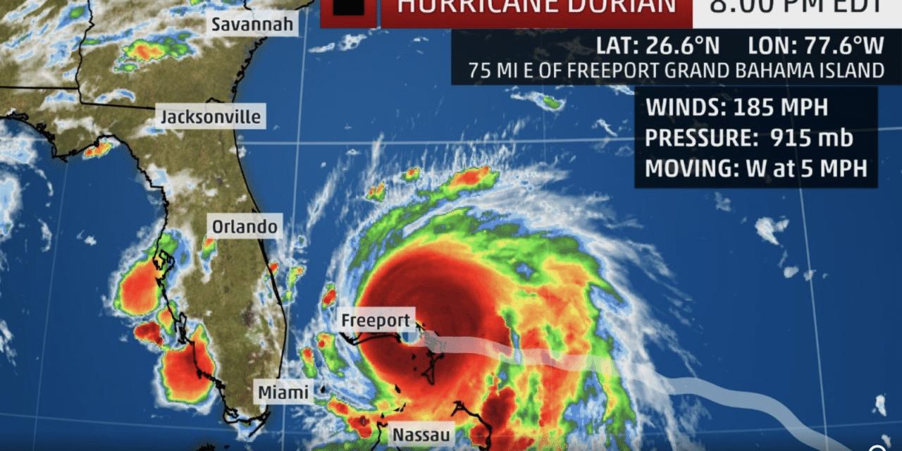 Hurricane Dorian Strikes Northwestern Bahamas as a Catastrophic Category 5; Hurricane Warning Issued in Florida