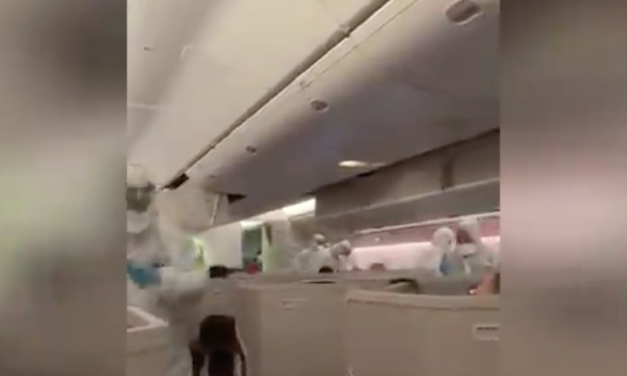 Video goes viral of Passengers on flight being tested for deadly virus