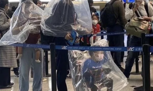 Terrified passengers resorting to plastic bottles and bags to protect themselves against coronavirus