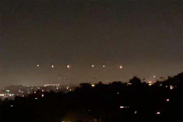 Multiple witnesses see strange row of lights in the sky from California to Mexico