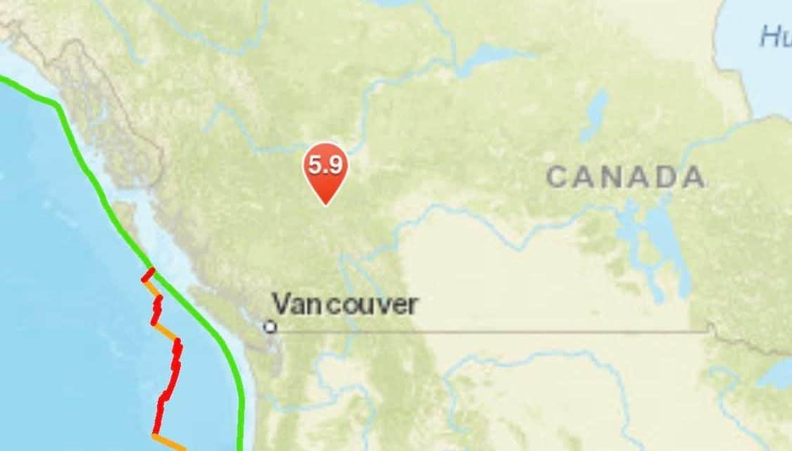 Strong Magnitude 5.9 Earthquake Strikes Near Alberta, Canada