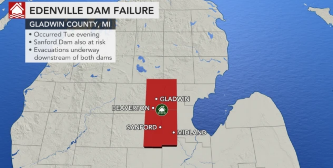 State of emergency declared and evacuations underway for 10,000 residents in Michigan after dams fail