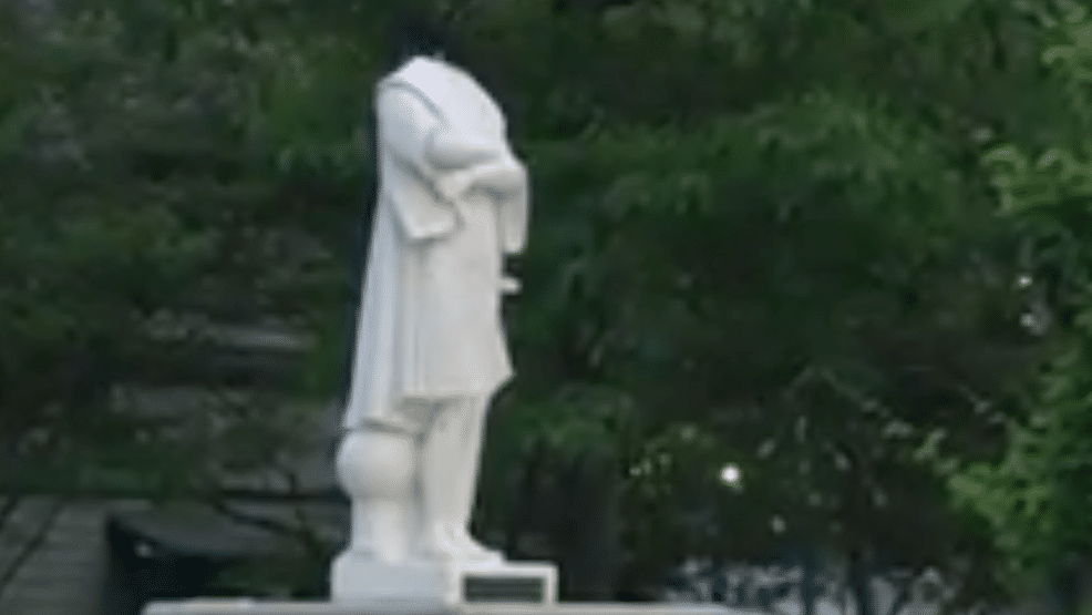 Christopher Columbus Statue Beheaded, in Boston – Spray-Painted, Set On Fire and Thrown in Lake in VA