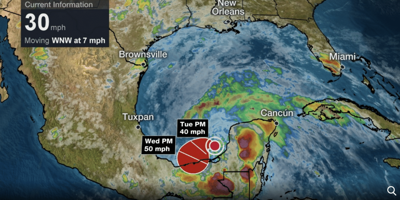 Third Tropical Depression Forms in the Southwestern Gulf of Mexico; Tropical Storm Warning Issued in Mexico