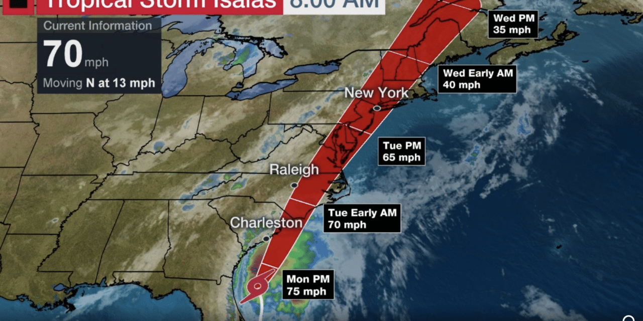 DEVELOPING: Tropical Storm Isaias nears hurricane strength as it crawls toward the Carolinas
