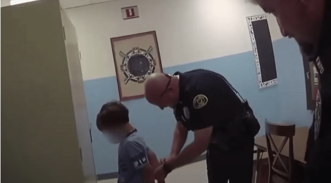 Outrage across America as newly released body cam footage shows cop arresting terrified 8-year-old boy at school