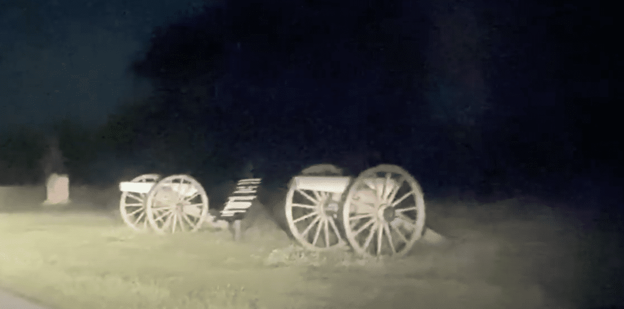Creepy Apparitions appear running across the road at Gettysburg Civil War site