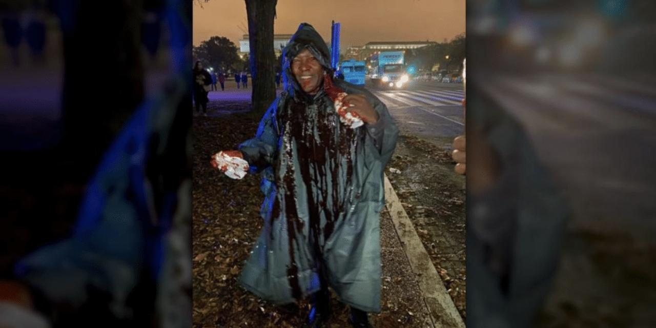 Satanic Protester Dumps Blood All Over Christian Preacher at Washington Prayer Event