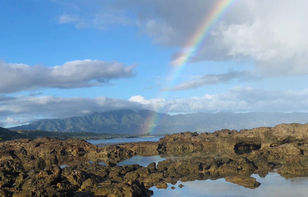Erupting volcano in Hawaii produces rainbow