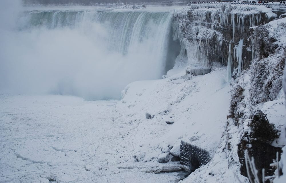 Niagara Falls freezes over as winter storm continues to batter the US
