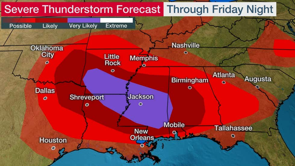 Severe Outbreak With Widespread Damaging Winds and Tornadoes to Hammer the South