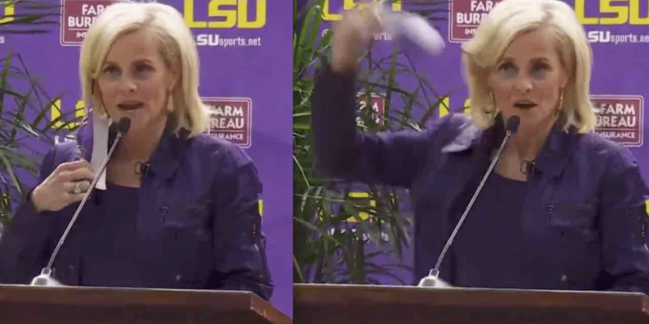 New LSU coach tosses aside her COVID-19 mask as crowd cheers leaving some outraged