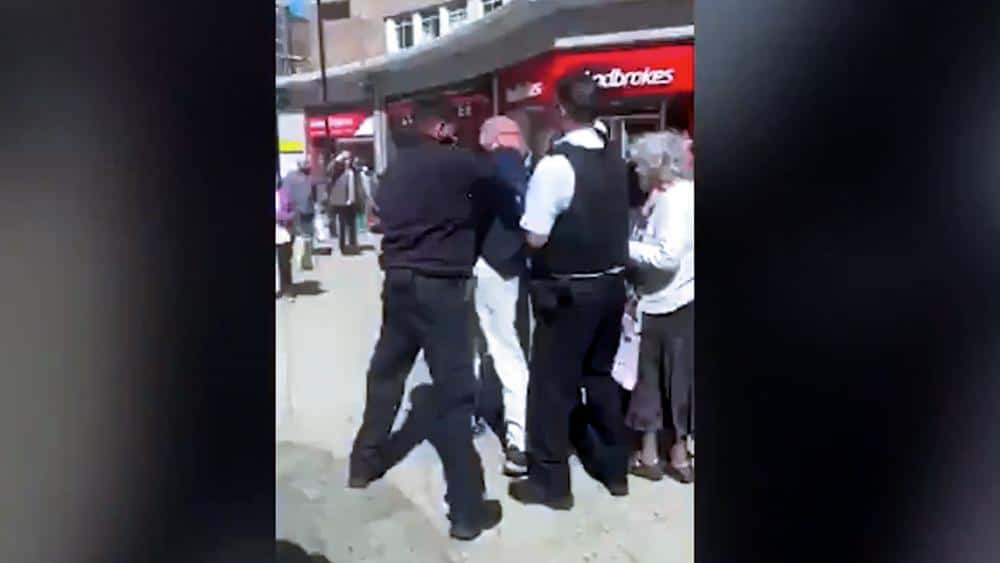 An elderly preacher was roughed up and arrested for preaching Biblical Marriage in UK