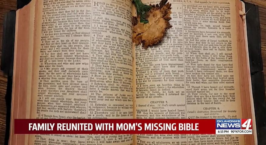 Family Reunited With Late Mother's Bible From 1946 After It Mysteriously Shows Up In Stranger's Yard