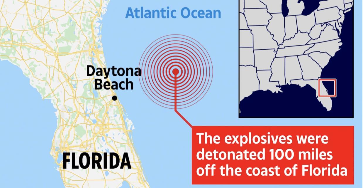 US Navy detonates 40,000 lb bomb triggering earthquake 100 miles away in Florida