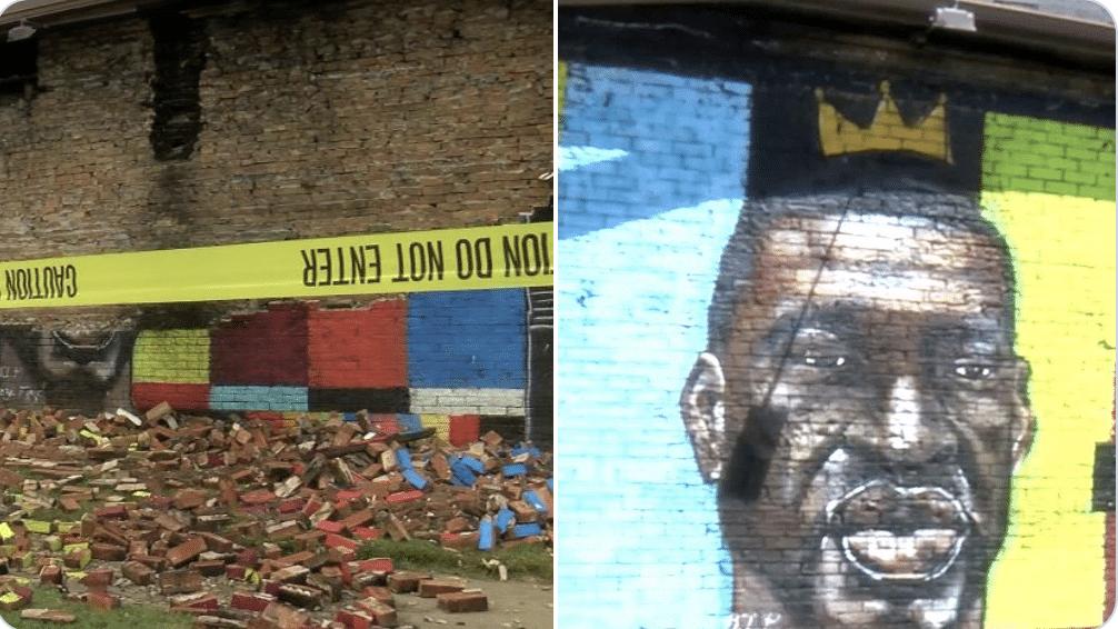 Lightning bolt strikes and destroys George Floyd mural in Toledo, Ohio
