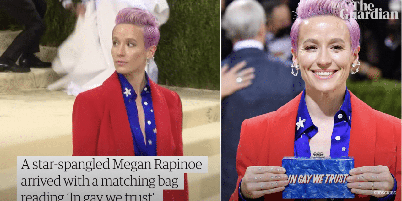 Soccer star Megan Rapinoe wore star-spangled suit with a blasphemous 'In Gay We Trust' clutch bag to the Met Gala
