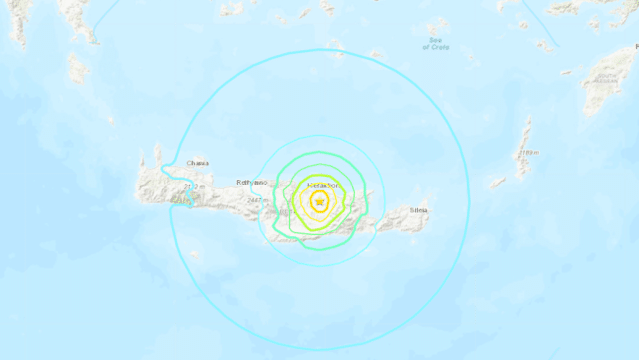 Powerful 5.8 magnitude earthquake strikes Greek island of Crete leaving buildings damaged and at least one person dead