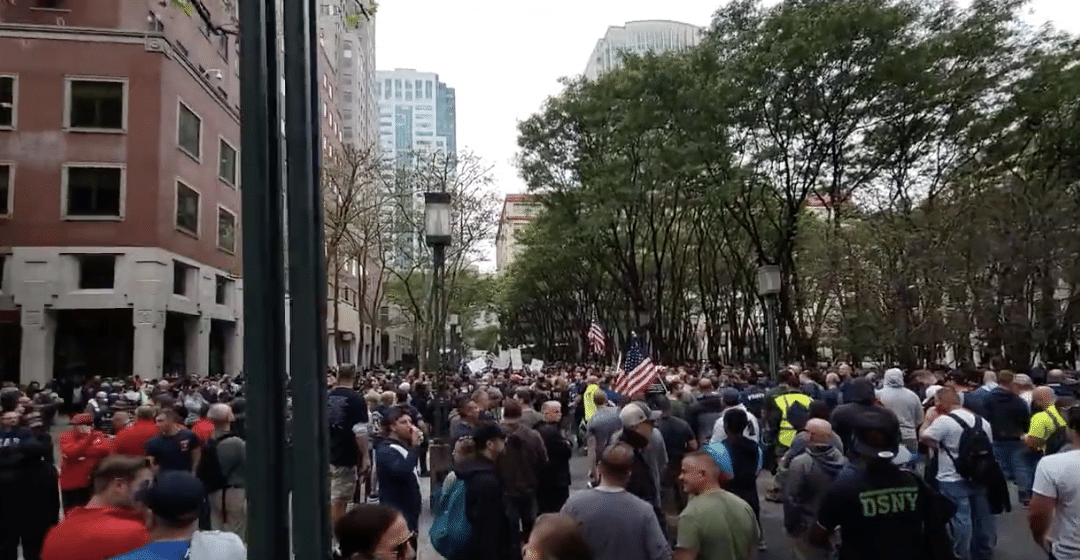"""Emergency workers come out in force in """"Mass Protest"""" against New York vaccine mandate"""