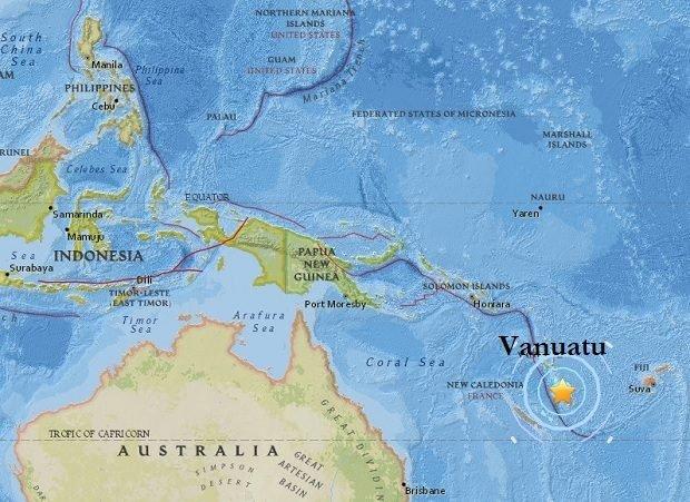 Deep magnitude 7.2 earthquake strikes coast near Vanuatu Islands